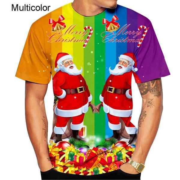 Fashion, christmasshortsleevedtshirt, Sleeve, christmas3dtshirt