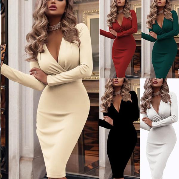 slim dress, Winter, Long sleeved, Dress