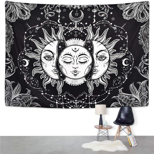 art, Wall Art, mandalatapestry, black