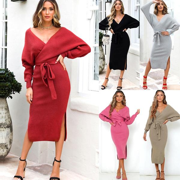 Deep V-Neck, Fashion, longsleeveddresse, Sleeve