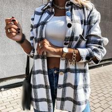 woolen, Turn-down Collar, plaid, Shirt