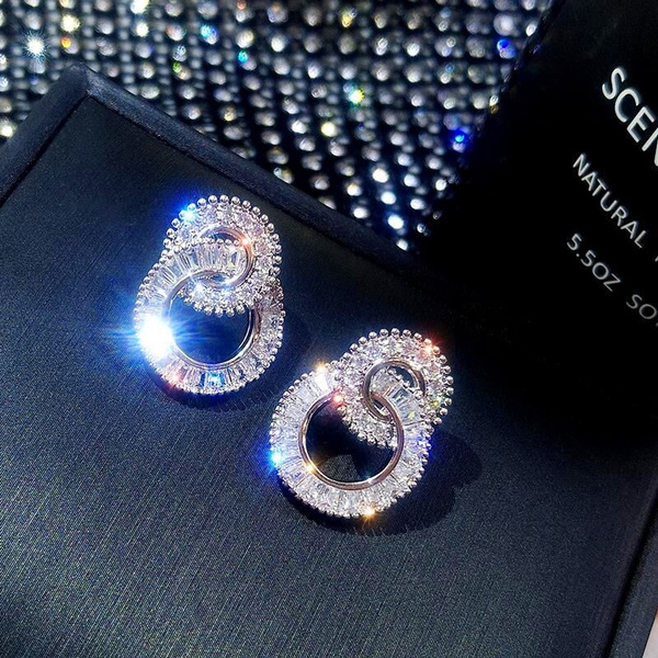 White Gold, Fashion, gold, Stud Earring