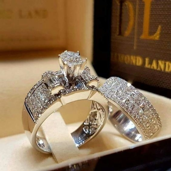Sterling, Fashion Accessory, Engagement Wedding Ring Set, 925 sterling silver