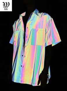 shortsleevesformen, blouse, Holographic, Shirt