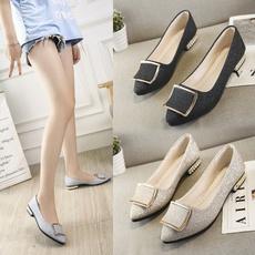 Zapatos, shallowshoesgirl, Womens Shoes, softsoledthickheeledwomensshoe