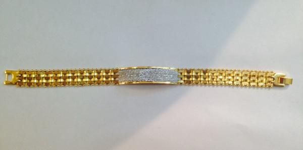 18kgoldfilledtwotoneidbracelet, fashionbraceletslink, Jewelry, gold