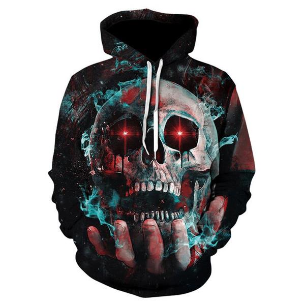3d sweatshirt men, 3D hoodies, pullover hoodie, skull