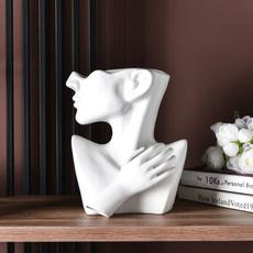 flowerpotsplanter, ceramicsculpture, portraitvase, Flowers