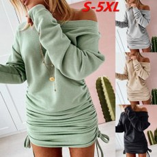 Mini, Plus Size, Long Sleeve, Dress