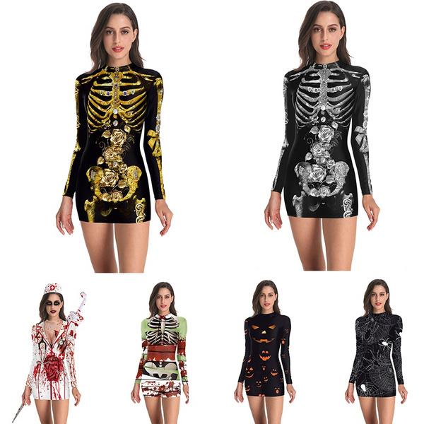 Goth, Skeleton, Long Sleeve, Evening Dress