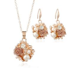 Jewelry, Pearl Earrings, flower necklace, Rose