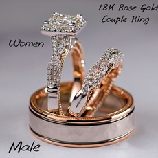 18 k, Steel, Fashion, wedding ring