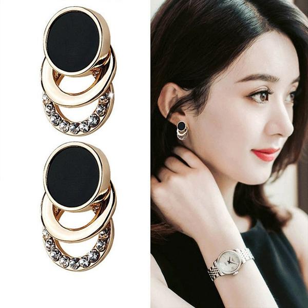 Black Earrings, Fashion, shinyrhinestoneearring, Stud Earring