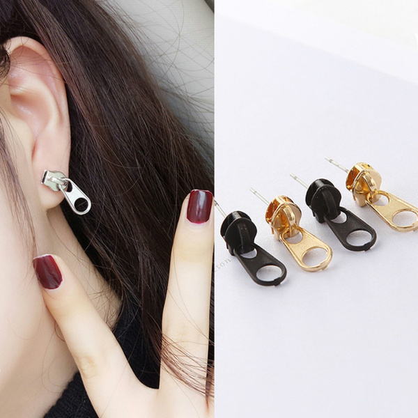 zipperstudsearring, Fashion, punk earring, Beauty