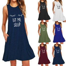 Plus Size, Dress, Nightgown, letterprinted