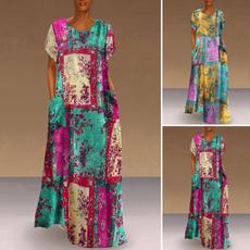 Vintage, printeddres, Fashion, Sleeve