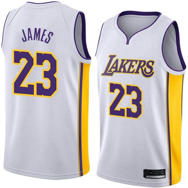Basketball Jersey Men's T-Shirt Basketball Uniform NBA Los Angeles Lakers Lebron James #23 Basketball Jersey   Wish