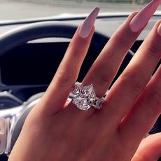 Sterling, platinum, DIAMOND, zirconring