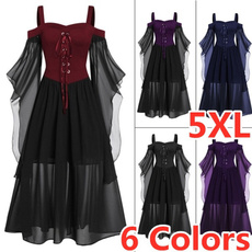 GOTHIC DRESS, halloweenpartydre, Cosplay, lacepatchworkdre