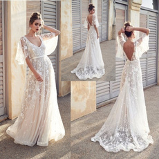 gowns, Lace, Dress, V-neck