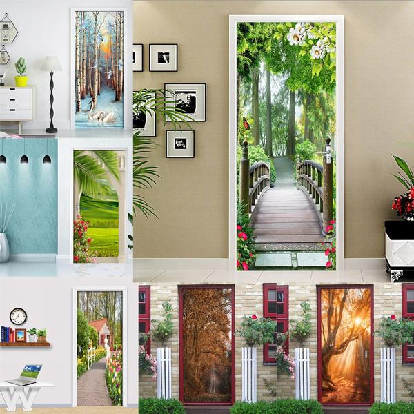 removablewaterproofdoordecal, Decor, swan, Wall Art