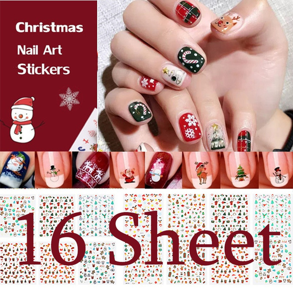 snowman, Nails, nail stickers, Santa Claus beard