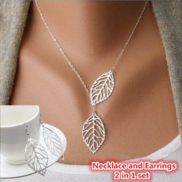 leaves, earringandnecklaceset, Fashion, Jewelry