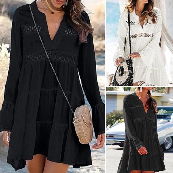 Shorts, hollowoutdres, lanternsleeve, sundress