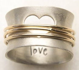 Sterling, heart ring, Love, wedding ring