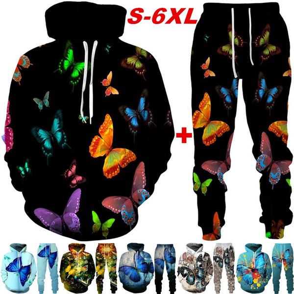 butterfly, 3D hoodies, casualhoodiessweatpantset, Plus Size