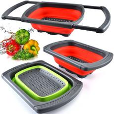 siliconestrainer, retractable, siliconecolander, Kitchen & Dining