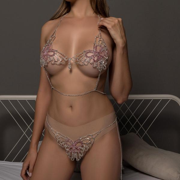 butterfly, Underwear, DIAMOND, sexylingerieset
