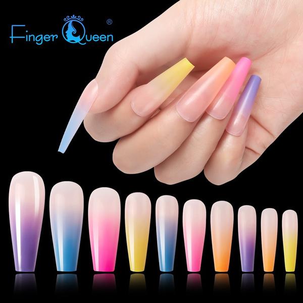 rainbow, art, nail tips, Beauty