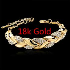 Charm Bracelet, Fashion Accessory, 18k gold, leaf