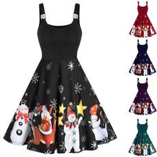 Sleeveless dress, printeddres, snowmanprint, christmasdresse