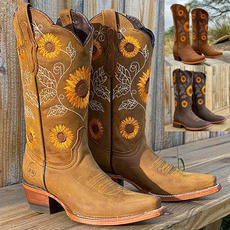Knee High Boots, midcalfboot, Winter, Sunflowers
