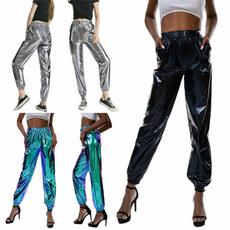 Fashion, metallicluster, high waist, pants