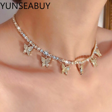 butterfly, Women, Chain Necklace, DIAMOND