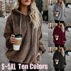 Plush, Fashion, plushhooded, Winter Coat Women