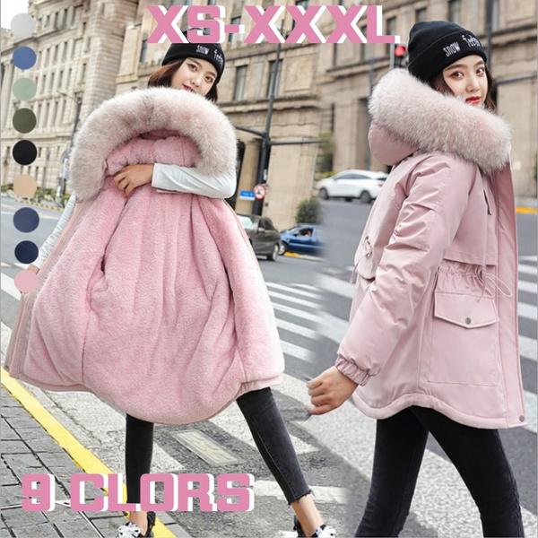 padded, womenwinterwarmoutwearfurcollarcottonpaddedcoat, hooded, Winter