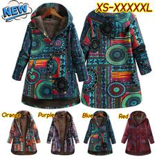 fur coat, Plus Size, Floral print, Winter