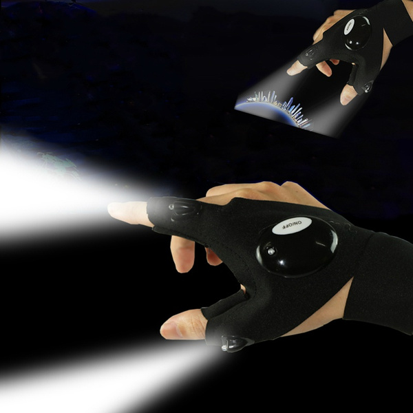 fingerlessglove, Flashlight, nightfishingglove, Outdoor