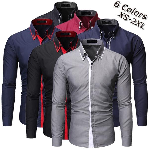 Turn-down Collar, plaincolor, Cotton Shirt, Dress Shirt