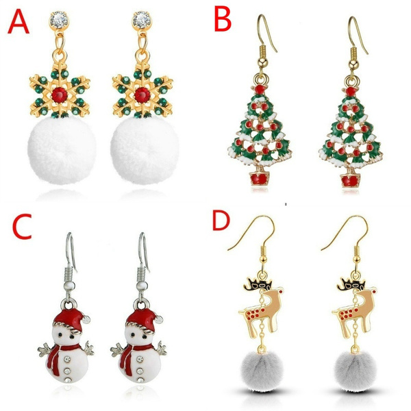 Fashion, Jewelry, Gifts, christmassnowmanearring