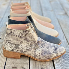 ankle boots, Plus Size, Leather Boots, printed