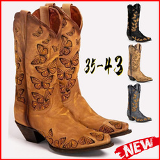 butterfly, Knee High Boots, causalfashion, Cowboy