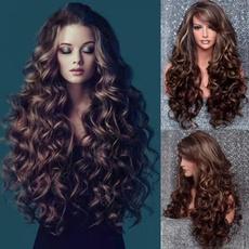 wig, brown, Fiber, Curly Hair