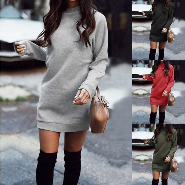 Fashion, Long Sleeve, Dress, solid color