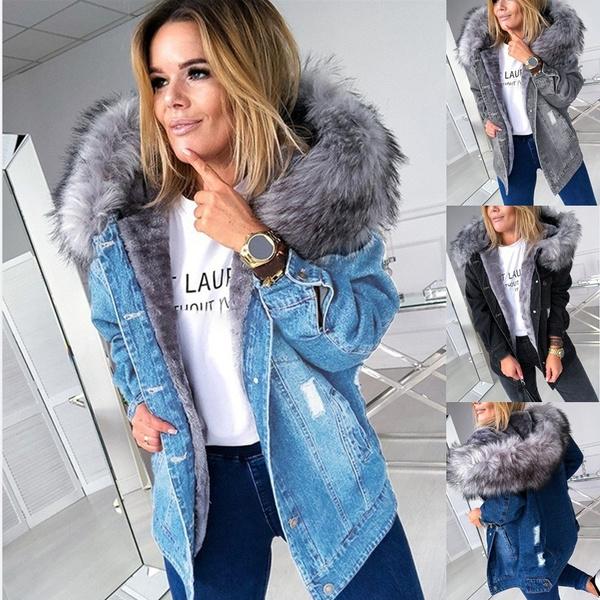 fur coat, jeanjacket, Plus Size, hooded