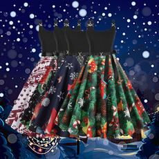 suspenders, Sleeveless dress, elastic waist, Christmas